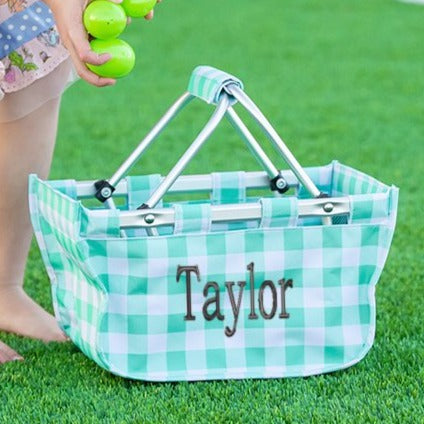Personalized Small Market Basket - Mint Check