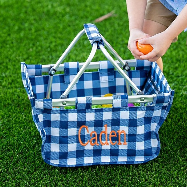 Personalized Small Market Basket - Navy Check
