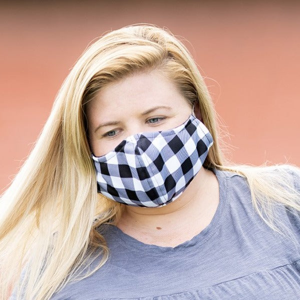 Black Buffalo Check - Face Masks for Adults - Adjustable - Patterned Fabric