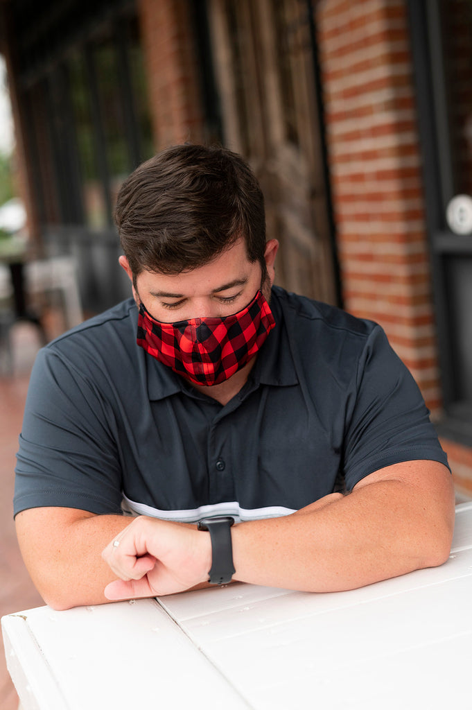 Red Buffalo Check - Face Masks for Adults - Adjustable - Patterned Fabric