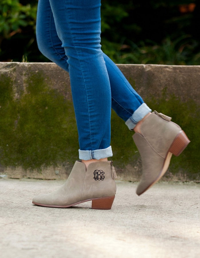 Monogrammed Boots Hudson Short Bootie - Vegan Suede Leather