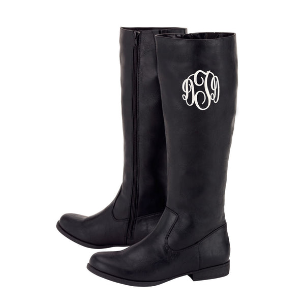 Monogrammed Boots Personalized Brooklyn Black Brown - Gifts Happen Here - 3