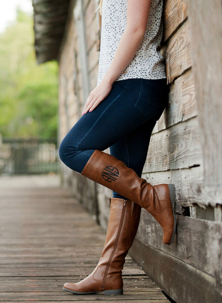 Monogrammed Boots Personalized Brooklyn Black Brown - Gifts Happen Here - 14