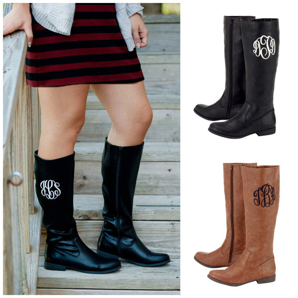 Monogrammed Boots Personalized Brooklyn Black Brown - Gifts Happen Here - 1