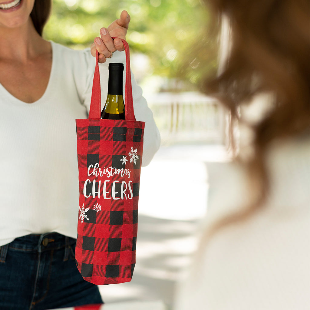Christmas Wine Bag - Red Buffalo Check - Christmas Cheers