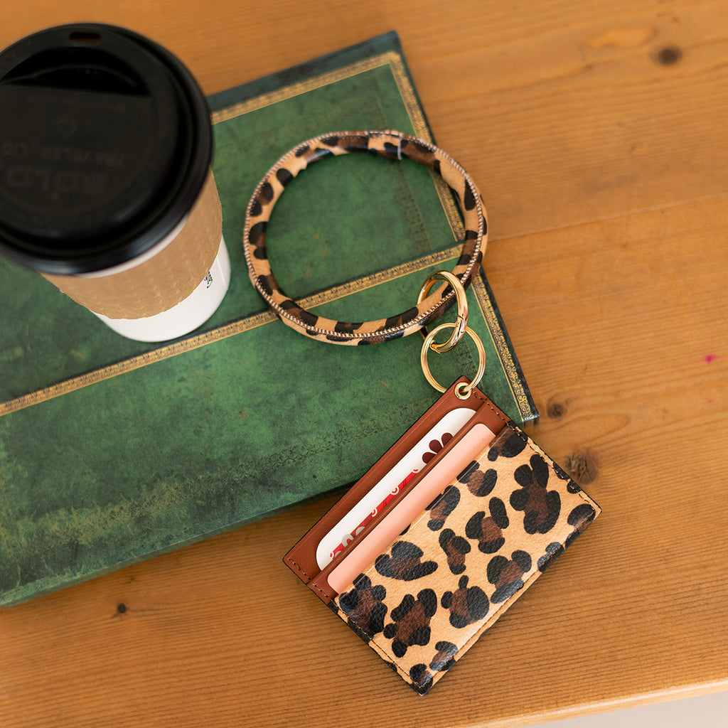 Fashion ID & Card Holder Keychain Bracelet - Animal Prints - Leopard