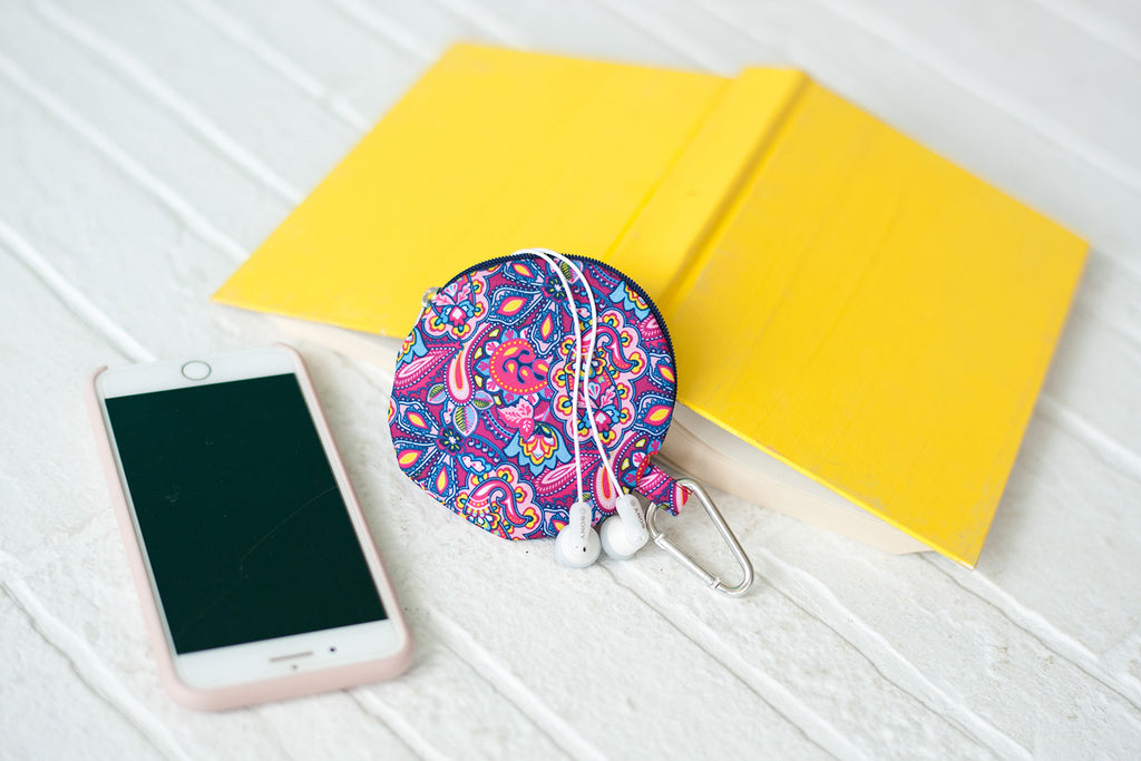 Pattern Earbud Case Carabiner Clip On