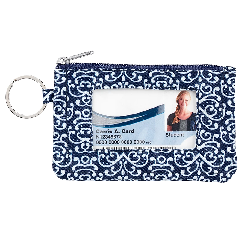 Fashion ID Case & Keyring - Navy White Damask
