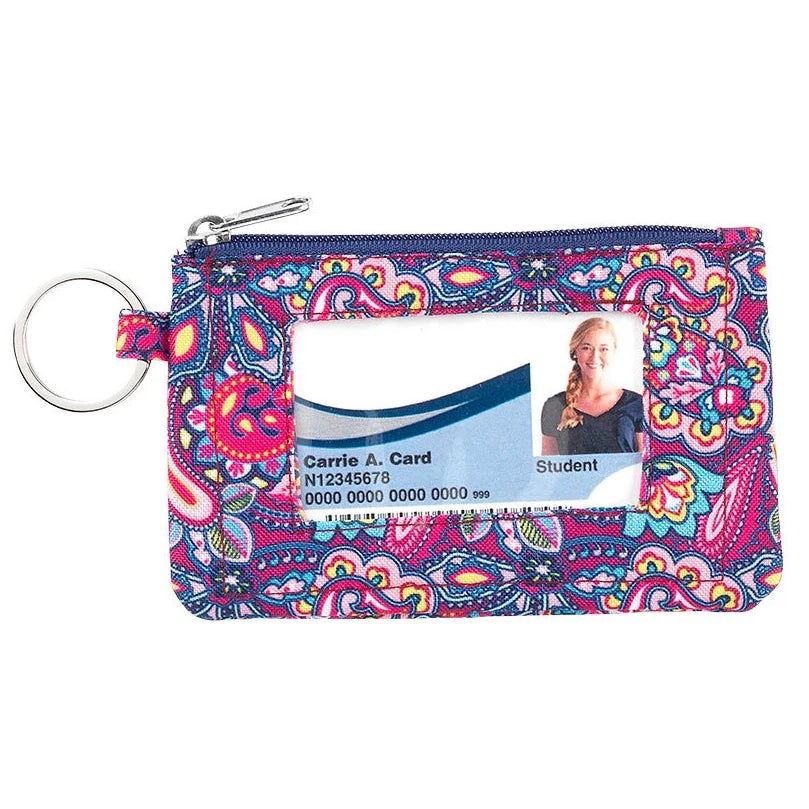 Fashion ID Case & Keyring - Dark Pink Paisley