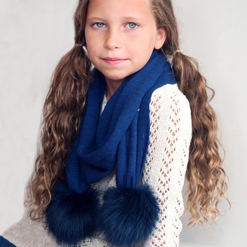 Personalized Kids Scarf - Pom Pom