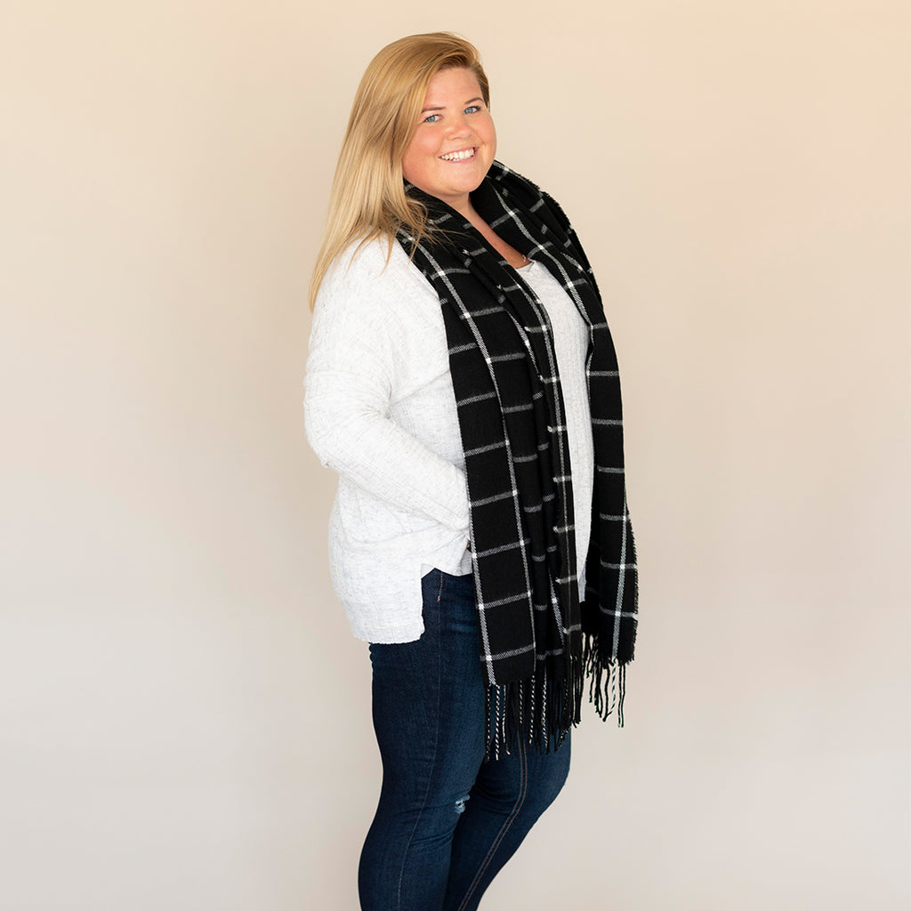 Personalized Plaid Scarf - Black