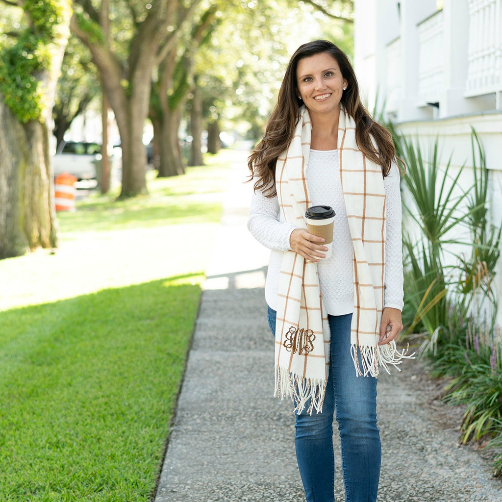 Personalized Plaid Scarf - Camel