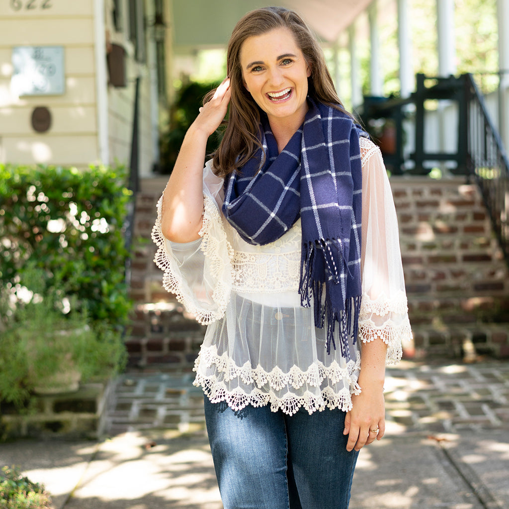 Personalized Plaid Scarf - Navy, Red, Camel & Black