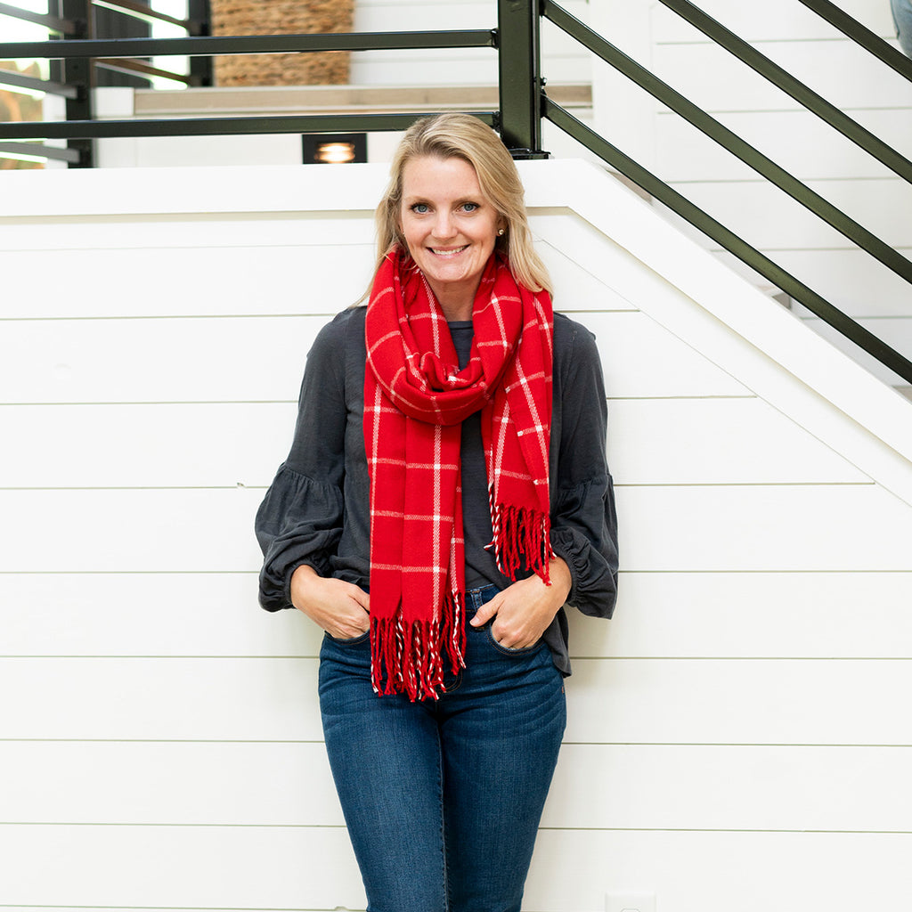 Personalized Plaid Scarf - Red