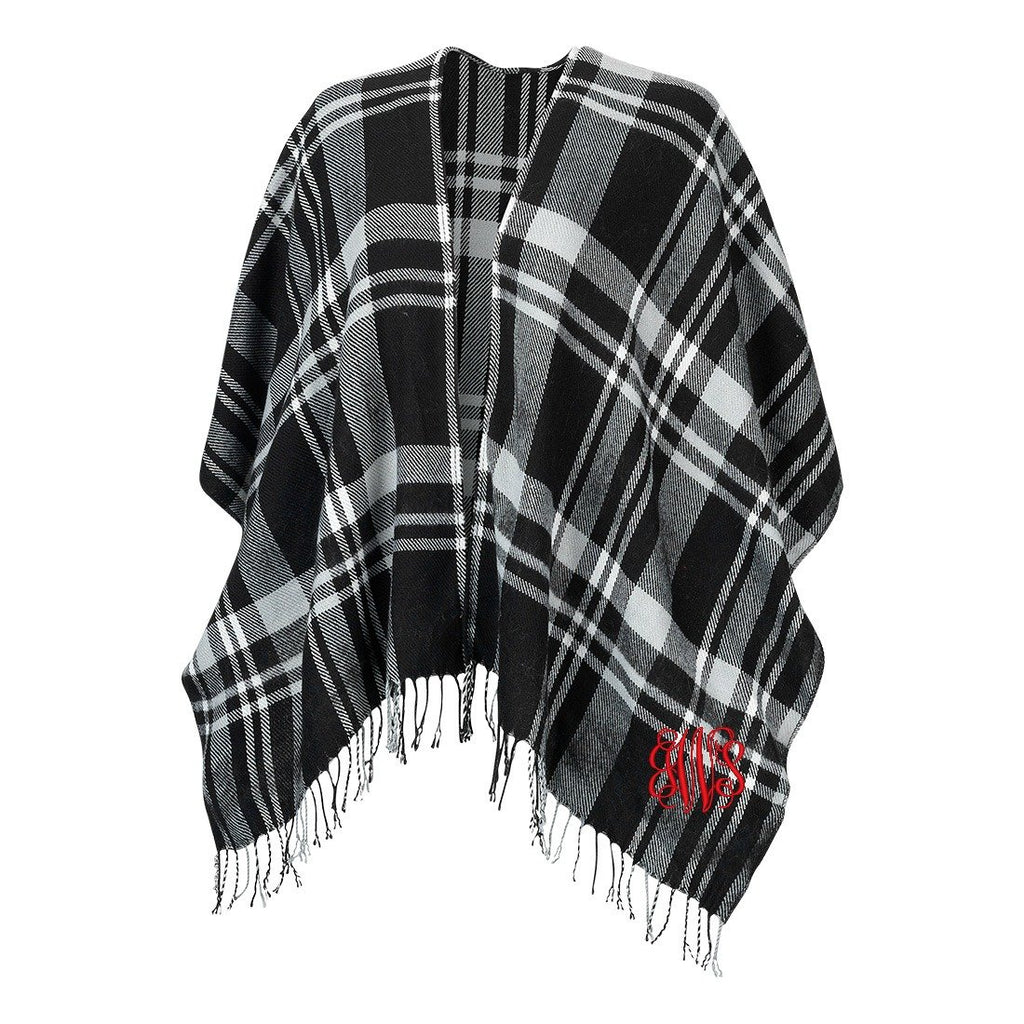 Monogrammed Shawl Wrap - Soft Acrylic - Fringe Trim - Black Plaid
