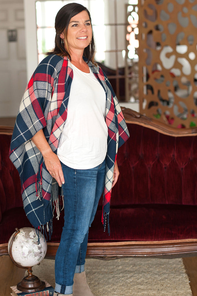 Monogrammed Shawl Wrap - Soft Acrylic - Fringe Trim - Red Navy Plaid