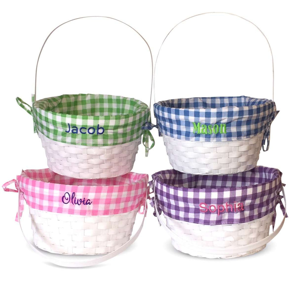 Personalized Easter Basket Plaid - White Bamboo