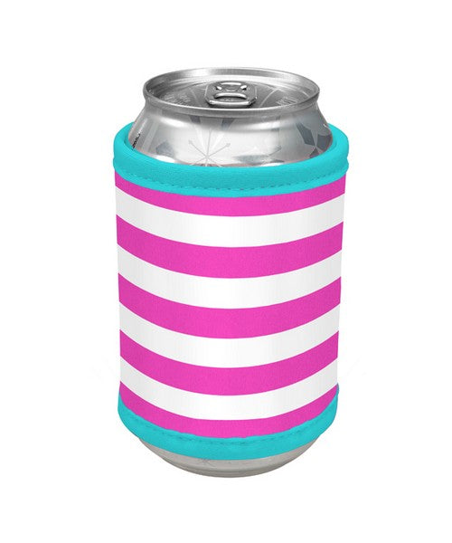 Striped Bottle or Can Holder - Pink Coral or Mint