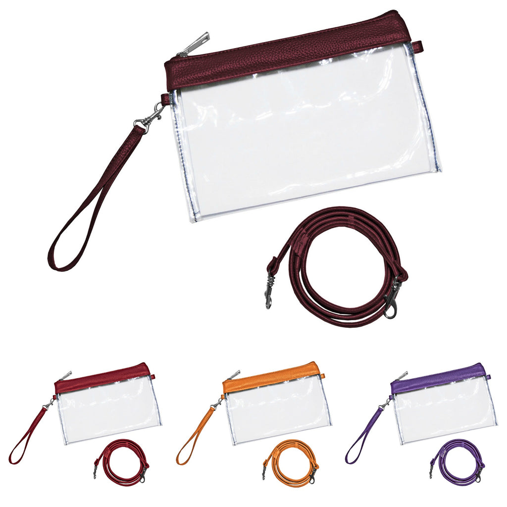 Stadium Bag Clear Wristlet with Crossbody Strap