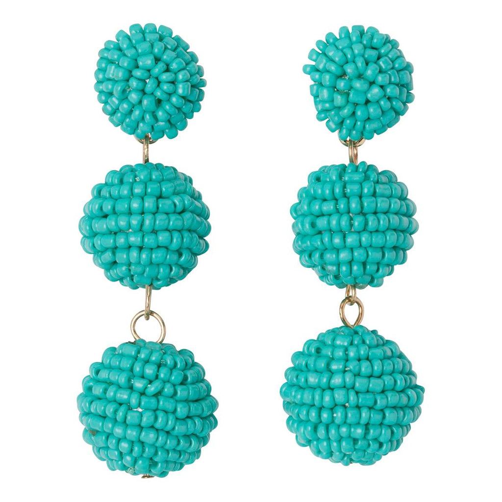 Seed Bead Ball Drop Earrings
