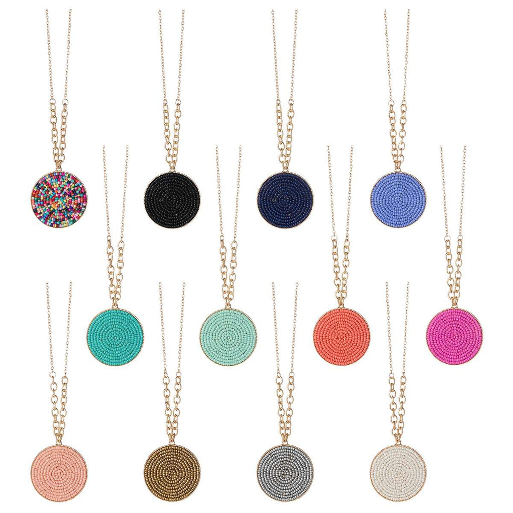 Seed Bead Circle Necklaces