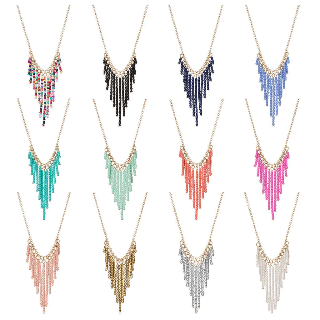 Seed Bead V-Drop Necklaces