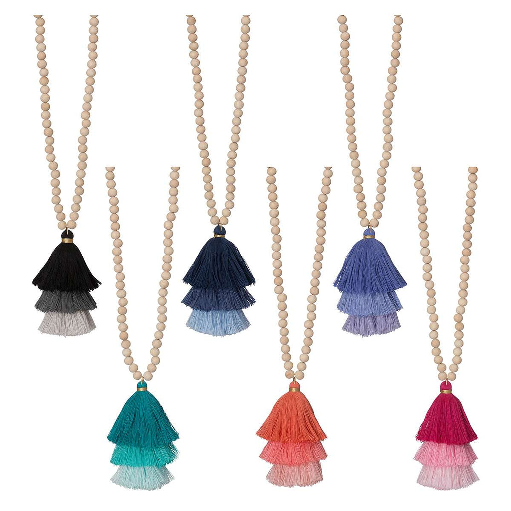 Ombre Tassel Necklace - Wooden Beaded