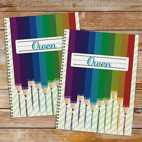 Personalized Colored Pencil Notebook Set