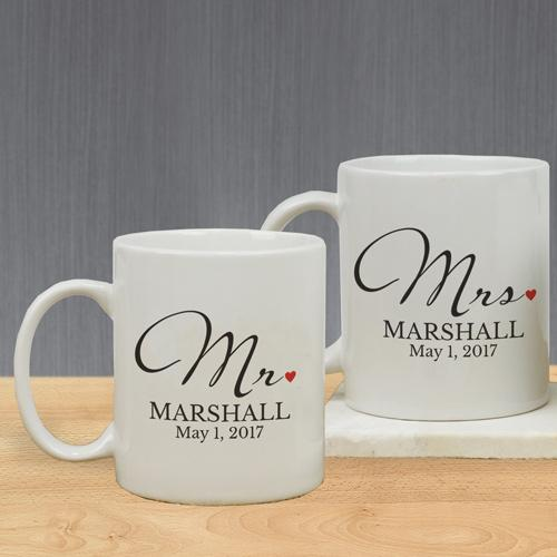 Personalized Mr And Mrs Mug Set