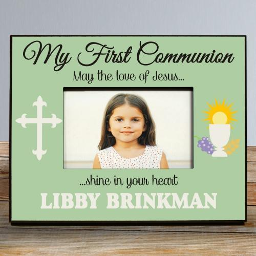 Personalized My First Communion Frame In Green