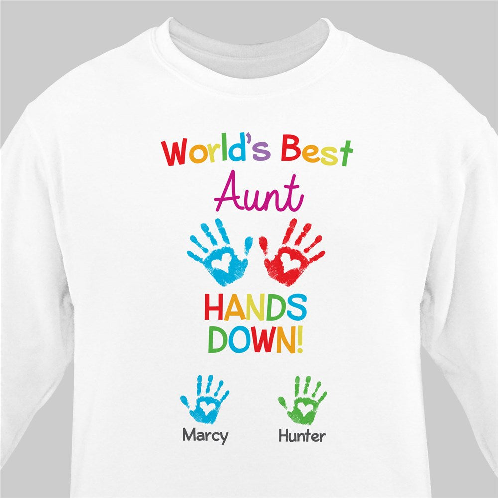 Personalized World's Best Hands Down White Sweatshirt
