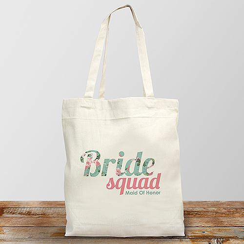 Personalized Bride Squad Canvas Tote