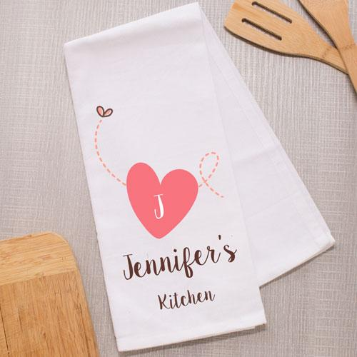 Personalized Heart Dish Towel - Valentine's Day Gift