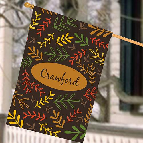 Personalized Fall Branches House Flag