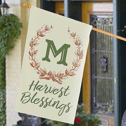 Personalized Harvest Blessing Wreath House Flag