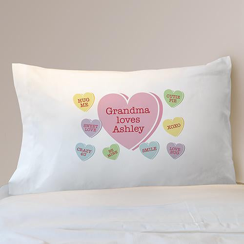 Personalized Conversation Hearts Pillowcase - Valentine's Day Gift
