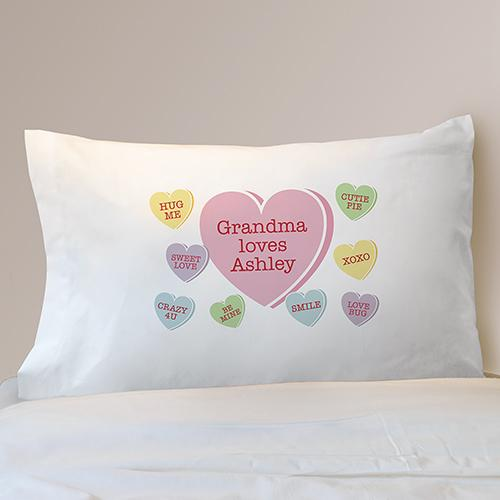 Personalized Conversation Hearts Pillowcase