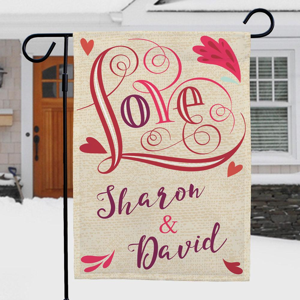 Personalized Love Garden Flag - Valentine's Day Gift