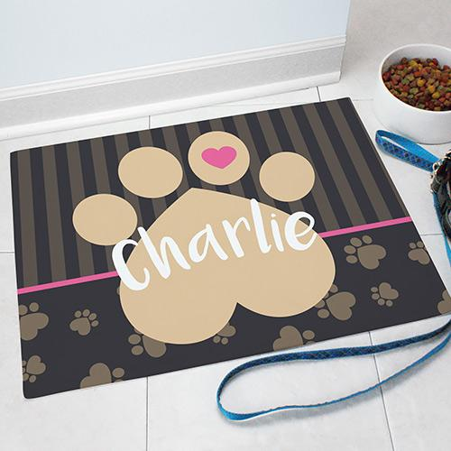 Personalized Heart Toe Paw Print Pet Food Mat