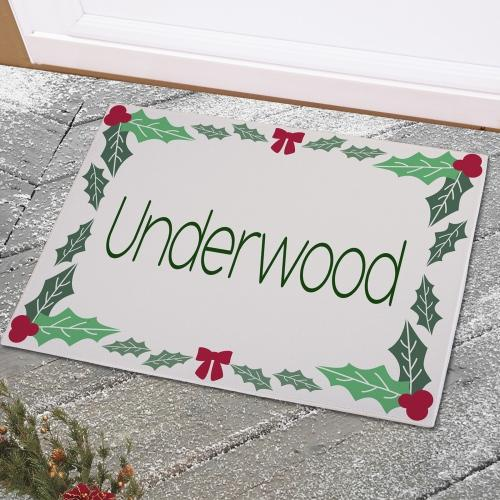 Personalized Holly Leaves & Berries Doormat
