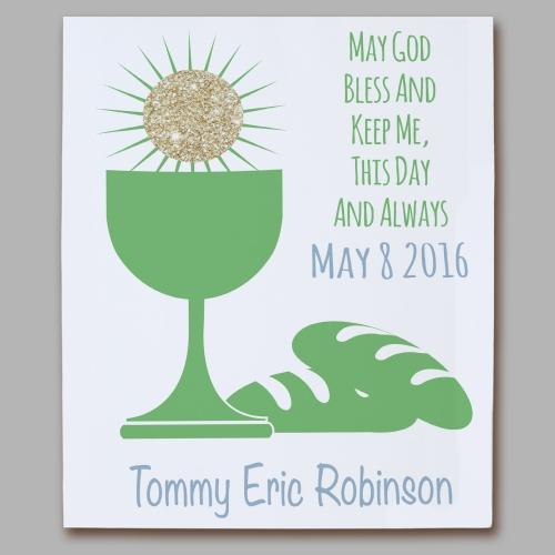 Personalized First Communion Eucharist Green Wall Canvas