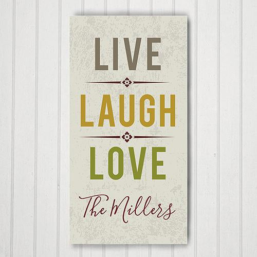 Personalized Live Laugh Love 8X14 Canvas