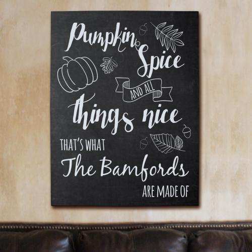 Personalized Pumpkin Spice Family Wall Canvas