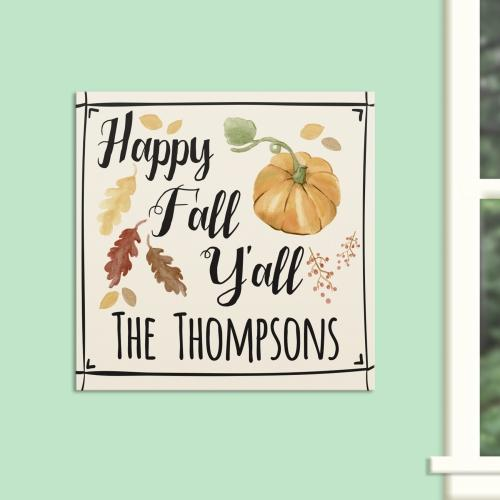 Personalized Happy Fall Ya'll Wall Canvas