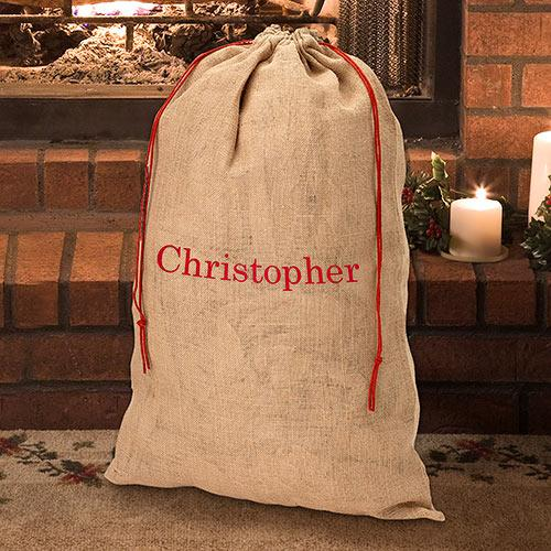Personalized Embroidered Burlap Gift Sack