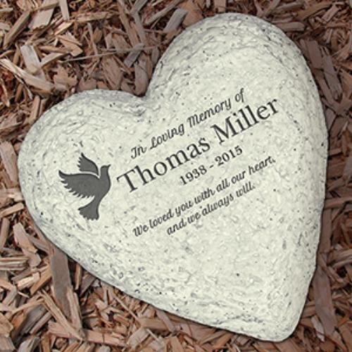 Personalized Engraved In Loving Memory Dove Heart Garden Stone