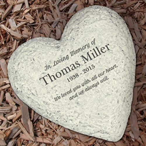 Personalized Engraved In Loving Memory Heart Stone