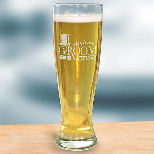 Personalized Engraved Groom Crew Pilsner Glass