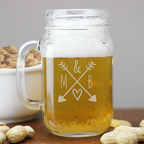 Personalized Arrows & Initials Mason Jar