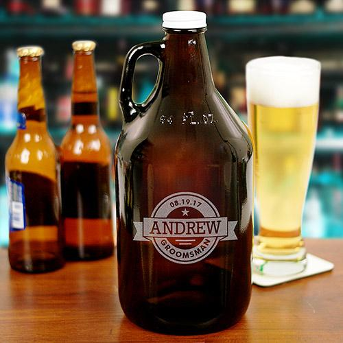 Personalized Engraved Groomsmen Growler